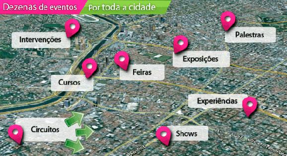 Dezenas de eventos estarão espalhados por várias ruas e bairros da capital paulista