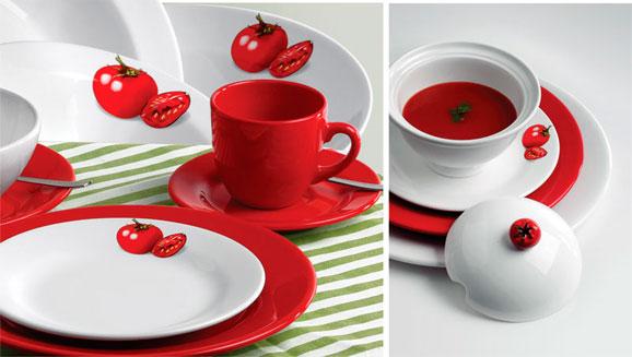 Scalla Cerâmica lança diversas linhas com estampas clássicas e outras divertidas como esta de tomate