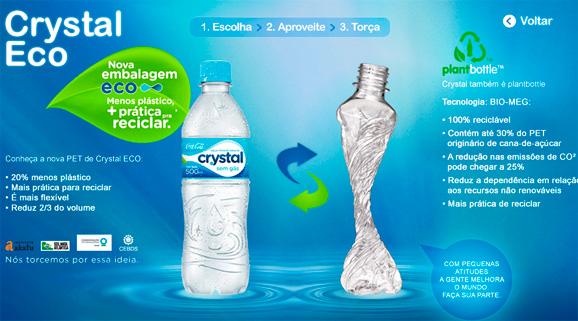 Embalagem Eco Crystal, da água Crystal, da Coca-Cola é um exemplo de como se pode acabar com o desperdício