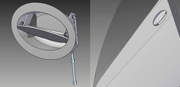 Maçaneta desenhada por Jason Gass apresentada em detalhe e aplicada à porta do VLC