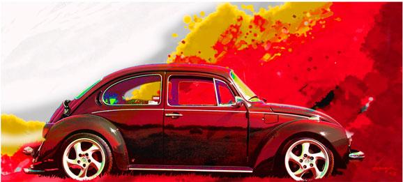 Nosso tão conhecido Fusca virou obra no quadro do designer e pintor Luiz Veiga
