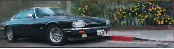 O clássico automóvel americano, Thunderbird, também faz sucesso na pintura de Veiga