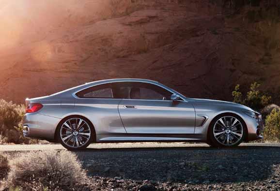As formas fluentes e típicas da BMW e a silhueta alongada definem a visão lateral esteticamente elegante do BMW Concept Série 4 Coupé