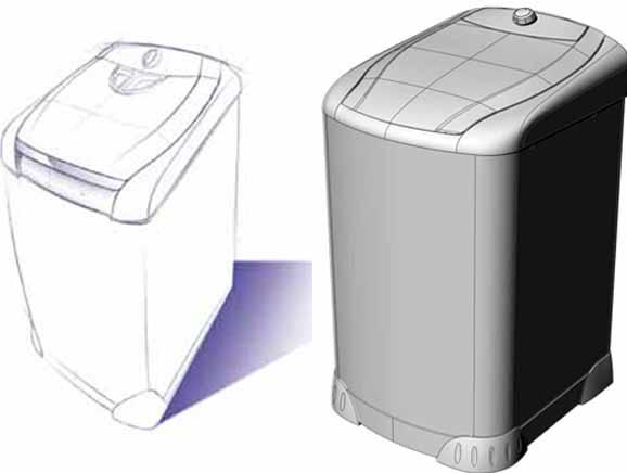 Sketch com novo design aprovado pelo cliente e o modelo 3D do novo tanquinho