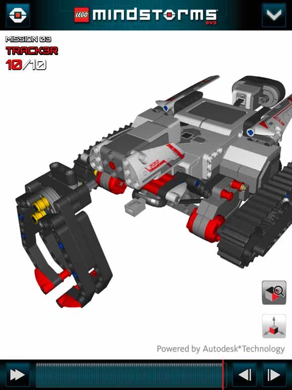 Robô Stracker3 na tela do aplicativo desenvolvido com o apoio do Autodesk Inventor Publisher
