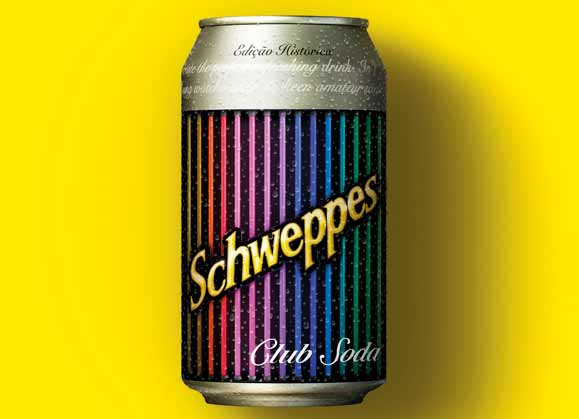 Cartaz dos anos 1980 remetia à Schweppes Club Soda que contribuia com a criação drinks deliciosos