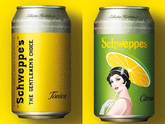 Esq.: Lata com primeiro slogan de Schweppes e lata que remete aos cartazes dos anos 1930