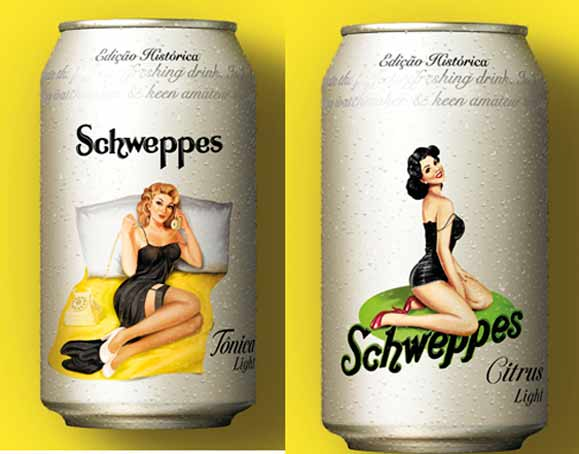 Icones nos cartazes de Schweppes nos anos de 1960 as pin-ups ganharam destaque em latas retrô
