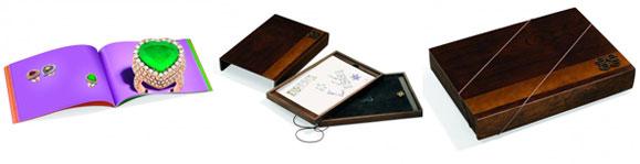 O catálogo vem acondicionado em uma bela caixa de madeira criada por Marcelo Lopes para dar um toque de arte