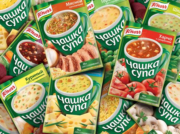 Embalagens das sopas Knorr trazem imagens dos ingredientes em destaque
