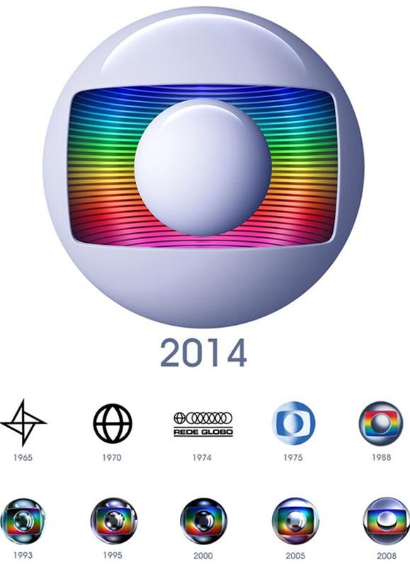 Veja nas imagens acima a evolução da marca da Globo desde 1965 até a mais recente lançada em abril de 2014