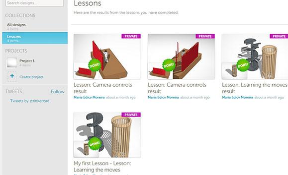 Página inicial do Tinkercad que começa com desenhos simples e vai aumentando a complexidade das lições