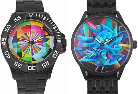Relógios da coleção Arte de Rua assinados por Eduardo Kobra (esq.)  e Doze Green (dir.)
