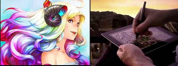 União do Procreate (imagem à esq.)  e o Intuos Creative Stylus2  (imagem à dir.) facilita desenho no iPad