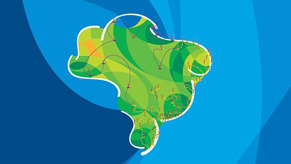 Conheça o mapa do roteiro da tocha Olímpica Rio 2016 pelo Brasil