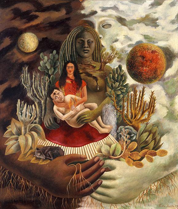 Frida Kahlo, El abrazo de amor del Universo, la Tierra, México, Diego, yo y el señor Xólotl, 1949 (óleo sobre sobre compensado de madeira) / © 2015 Banco de México, Diego Rivera & Frida Kahlo Museums Trust. A imagem não pode ser alterada