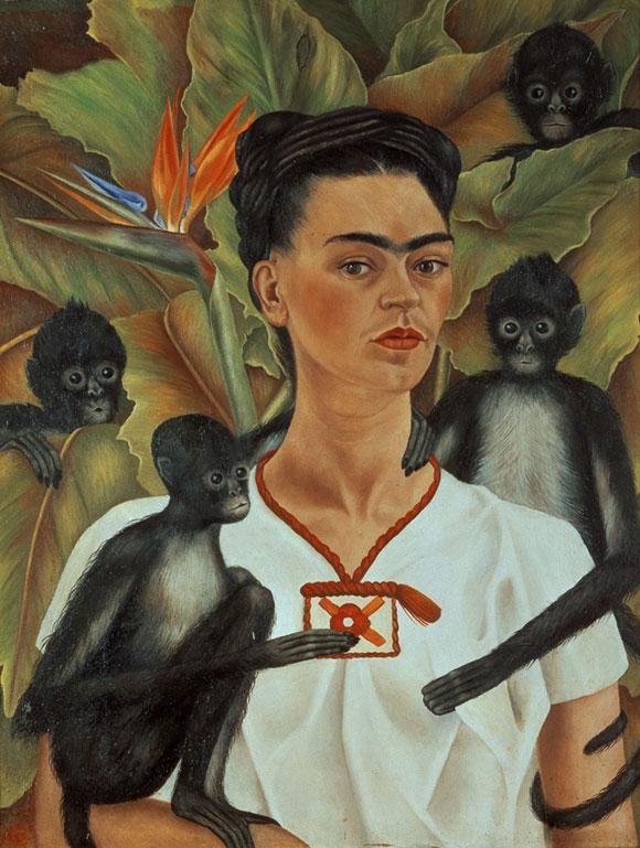Frida Kahlo_autorretrato con monos_1943_oleo sobre tela Courtesy the Guelman Collection_©2015 Banco de Mexico Diego Rivera & Frida Kahlo Museums Trust. A imagem não pode ser alterada
