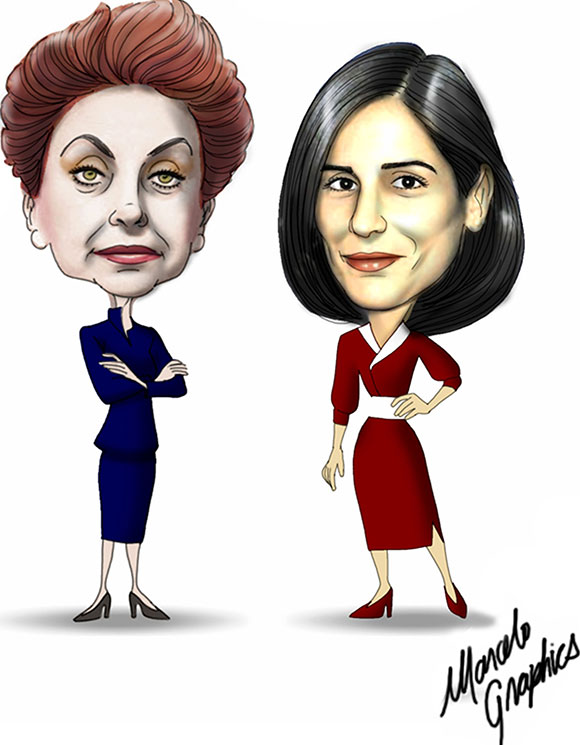 Beatriz Segal (Odete Roitman) e Glória Pires (Maria de Fátima) na novela Vale Tudo por Marcelo Graphis