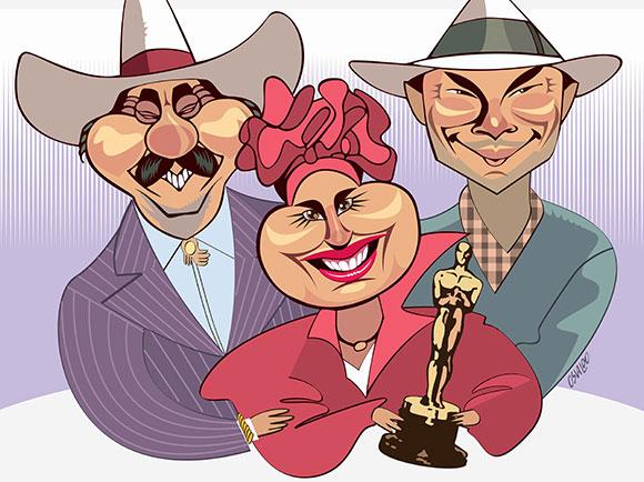 Viúva Porcina (Regina Duarte), o Sinhozinho Malta (Lima Duarte) e do personagem título Roque Santeiro (José Wilker),