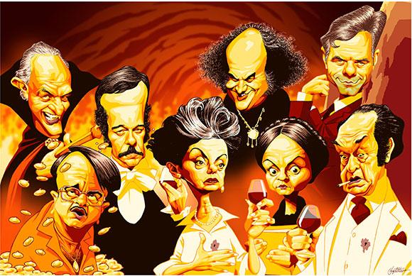 Personagens ícones de diversas novelas marcantes da TV Globo